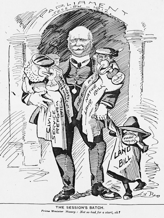 """Blomfield, William, 1866-1938 :The session's batch. Prime Minister Massey """"Not so bad for a start, eh?"""" 16 November, 1912"""