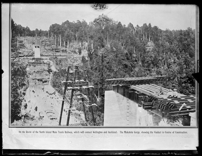 Makatote viaduct under construction, Ruapehu district - Photograph taken by the Weekly Press