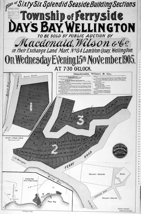 Plan of sixty six splendid seaside building sections, township of Ferryside, Day's Bay, Wellington [cartographic material] : to be sold by public auction ... 1905 / Seaton & Sladden, surveyors.
