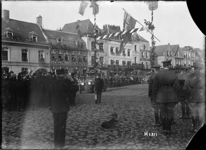 Street scene during the arrival of French President Raymond Poincare at Le Quesnoy, France