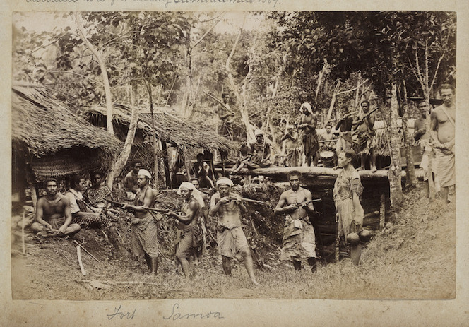 Group with guns at Fort Samoa, Apia.
