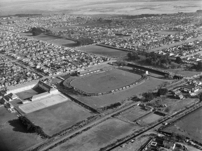 Aerial view of Invercargill showing Rugby Park in the foreground