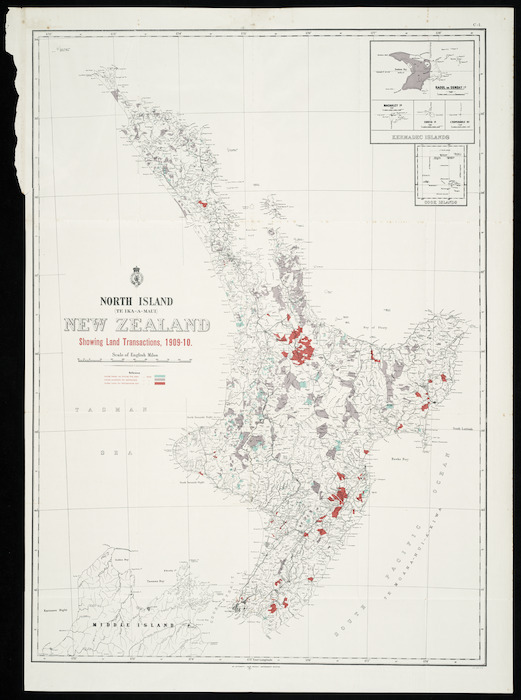 North Island (Te Ika-a-Maui) New Zealand [cartographic material] : showing land transactions, 1909-10.