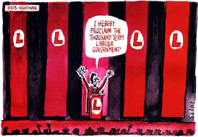 "Bill's nightmare. ""I hereby proclaim the thousand term government."" 27 February, 2003"