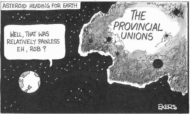 Ekers, Paul, 1961- :Asteroid heading for earth. 'Well, that was relatively painless eh, Rob?' 29 July, 2002.