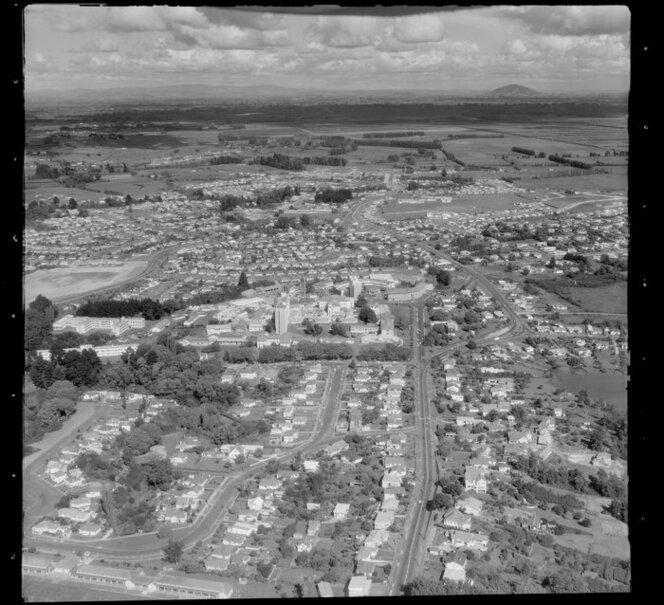Hamilton, showing Waikato Hospital