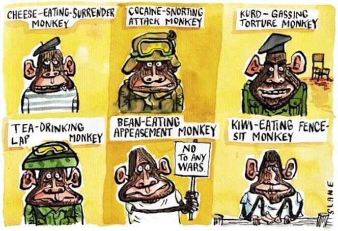 Slane, Christopher, 1957- : Cheese-eating surrender monkey.... Listener, [9 April 2003].