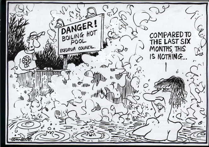 """DANGER! Boiling hot pool, Rotorua Council. """"Compared to the last six months, this is nothing..."""" 28 October, 2006."""