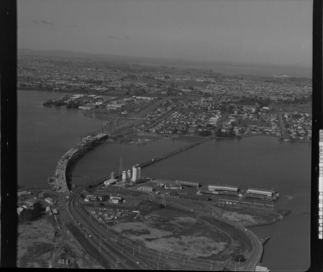 Overlooking the Mangere Bridge and Port, Onehunga, Auckland