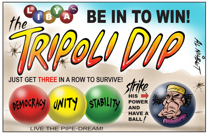 Nisbet, Alistair, 1958- :The Tripoli Dip - just get three in a row to survive!... 28 August 2011