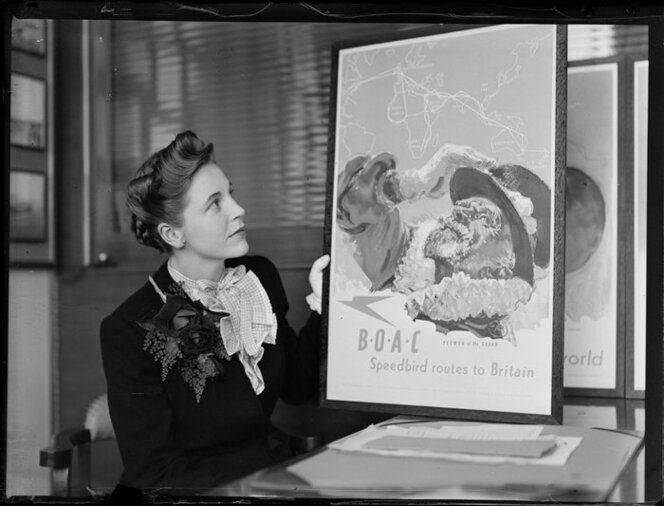 Mary Wootton (Miss New Zealand) holding a BOAC (British Overseas Airways Corporation) poster, at Whites Aviation offices, Auckland