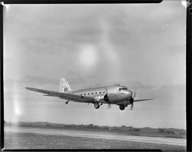 Douglas DC-3 Dakota airplane, taking off from Royal New Zealand Air Force Station, Whenuapai, Waitakere City