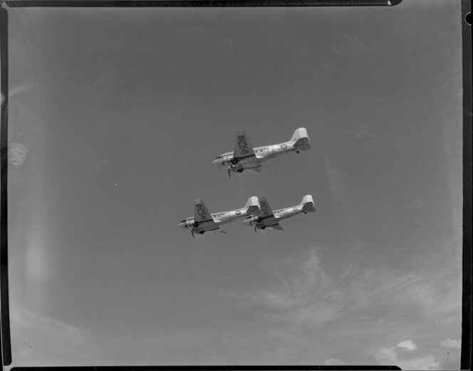 RNZAF (Royal New Zealand Air Force) DC3 airplanes airborne, Whenuapai airbase, Waitakere City, Auckland