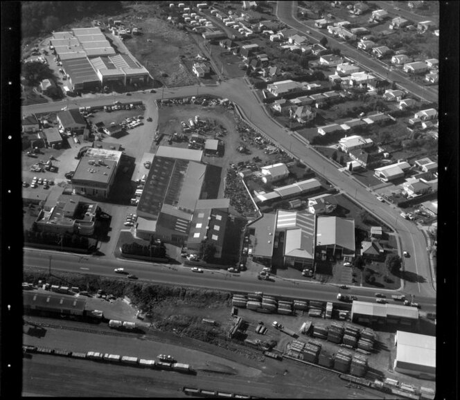 Unidentified factories in industrial area, Manukau City, Auckland, including railway yard and residential housing