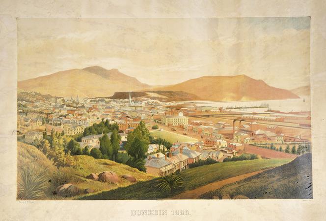 O'Brien, George, 1821-1881 :Dunedin, 1888. Geo O'Brien pinxt. P. McIntyre Del. Dunedin, W. J. Prictor. Caxton & Co. Lith. [ca 1888]