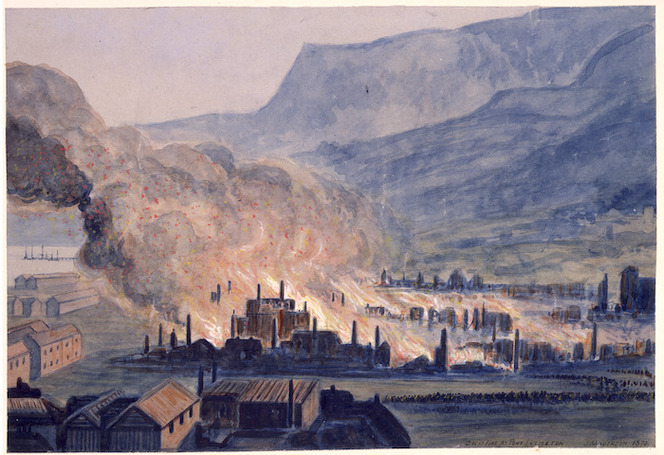 Sanderson, J, active 1870. Sanderson, J :Great fire at Port Lyttelton. 1870. Ref: B-079-006. Alexander Turnbull Library, Wellington, New Zealand. /records/23197759