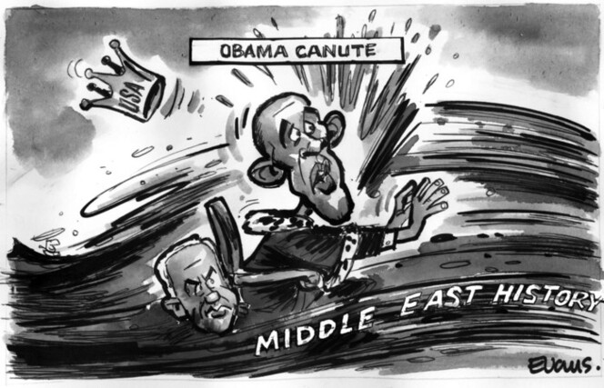 Evans, Malcolm Paul, 1945- :Obama Canute. 23 September 2011
