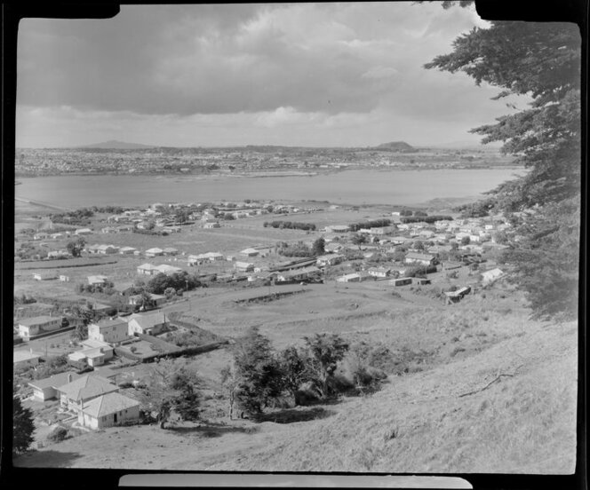 Mangere Mountain, Auckland, including Manukau Harbour and Onehunga