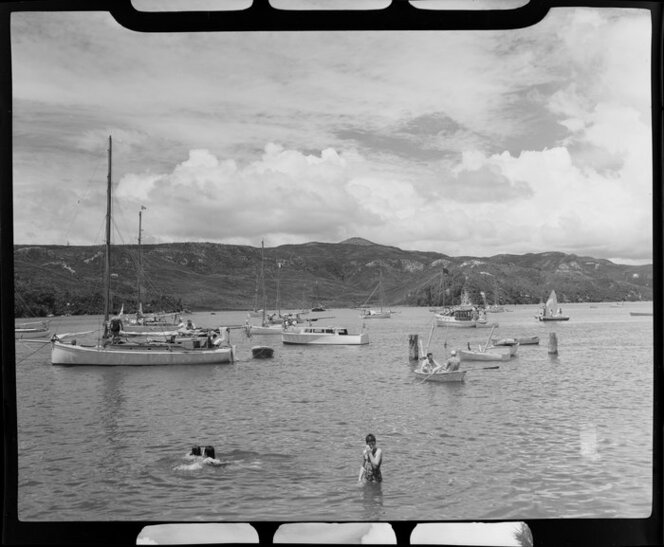 Boats and swimmers, Whitianga harbour