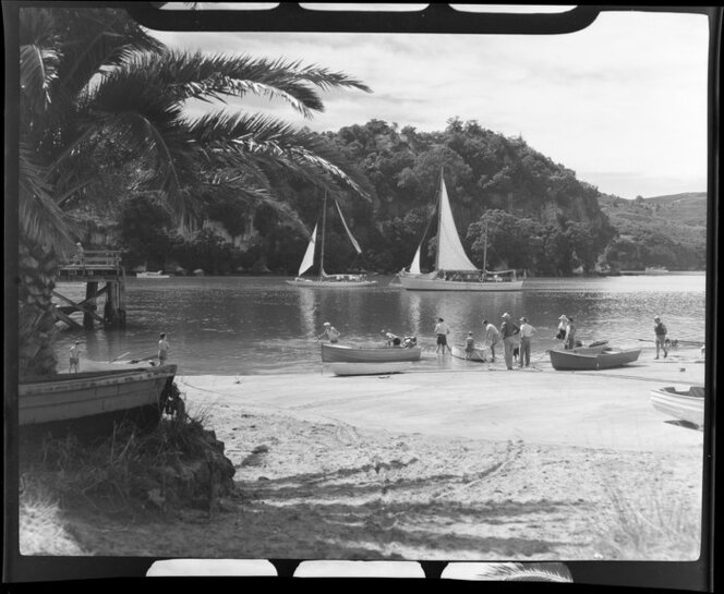 People and boats, Whitianga harbour