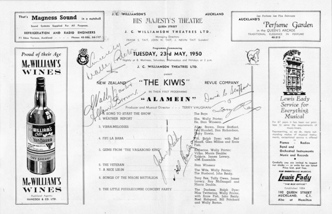 J C Williamson Theatres Ltd present The Kiwis Revue Company, the original Middle-East Kiwi Concert Party. His Majesty's Auckland. [Season commencing Tuesday 23rd May, 1950. Programme centre spread].