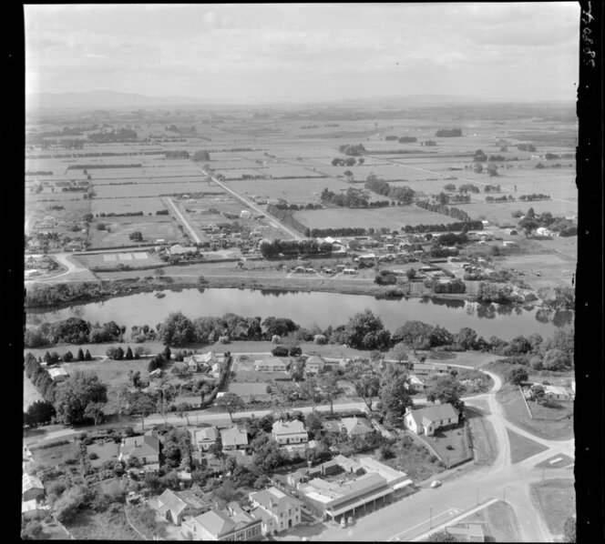 Ngaruawahia, Waikato, view east over town with Newcastle Street and Market Street and Lower Waikato Esplanade to the Waikato River with River Road and farmland beyond