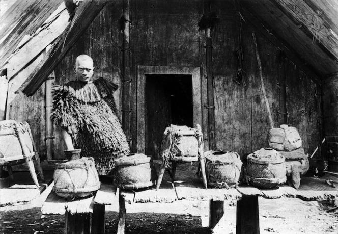Pai Kanohi at Ruatahuna, with pigeon preserving pots