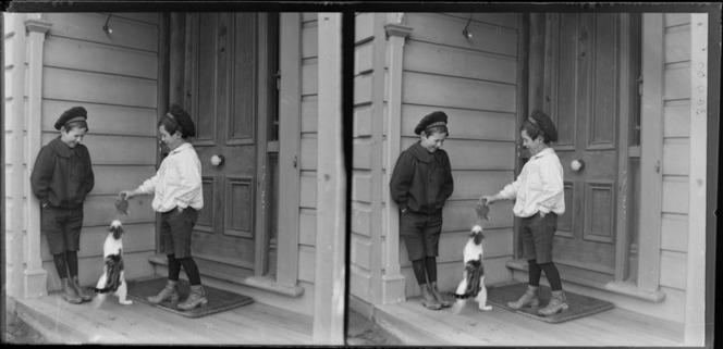 Edgar Richard and Owen William Williams on verandah playing with cat [Williams' Royal Terrace House, Kew?] Dunedin, Otago Region