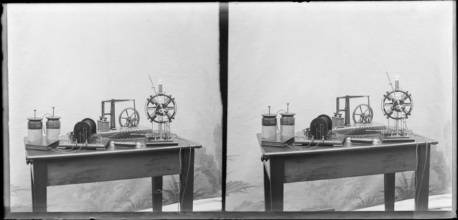 Miniature engines [made by Edgar Richard Williams?] powered by electricity