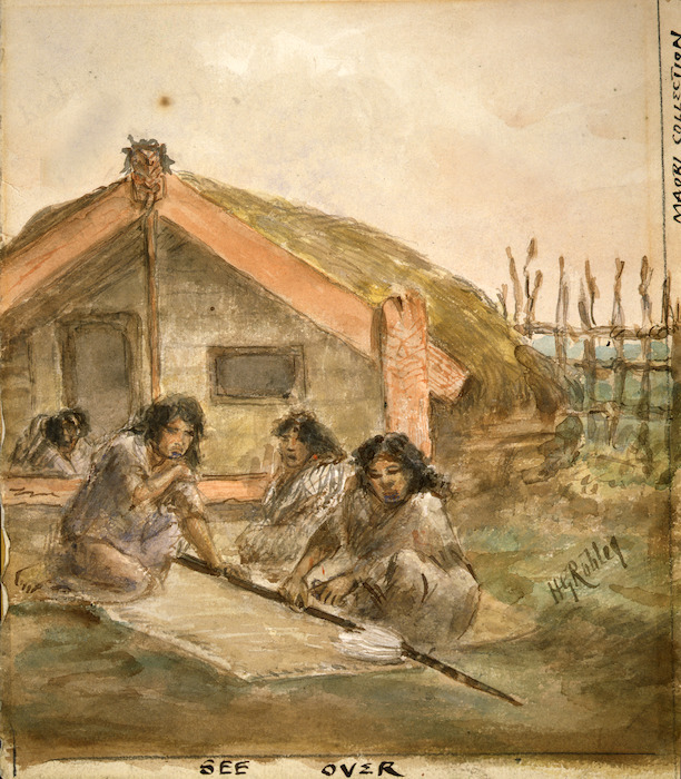 Robley, Horatio Gordon 1840-1930 :[Women cutting themselves on arms for tears of blood. Mourning over the spear of a Ngaiterangi warrior killed 21 June '64 sketched by H. G. Robley it had been bought to family by a comrade. 1864]