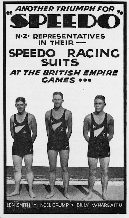 """Another triumph for """"Speedo"""". N.Z. representatives in their Speedo racing suits at the British Empire Games ... Len Smith, Noel Crump, Billy Whareaitu. [1935]."""