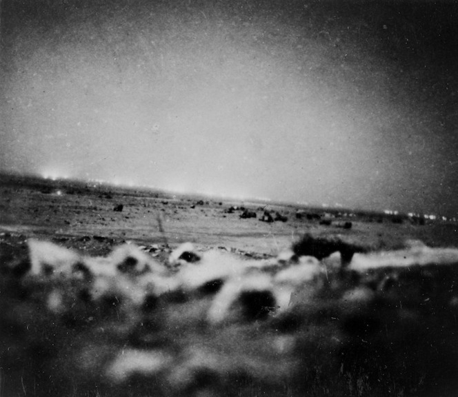Alamein barrage from the ridge in front of 5 Bde HQ, front line, Egypt