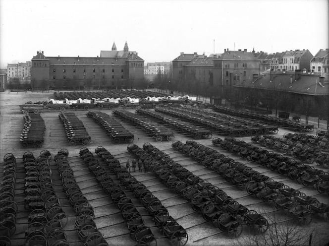 Rows of New Zealand military transport, Mulheim, Germany