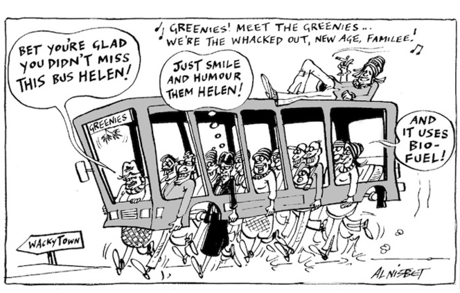 """Bet you're glad you didn't miss this bus Helen!"" Greenies! Meet the Greenies... We're the whacked out, new age, familee! (Thinks) ""Just smile and humour them Helen!"" ""And it uses bio-fuel!"" 5 September, 2005"