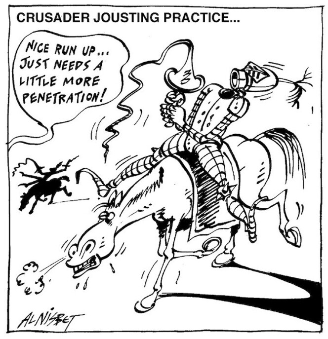 Nisbet, Al, 1958- :Crusader jousting practice... Christchurch Press, 11 March, 2003.