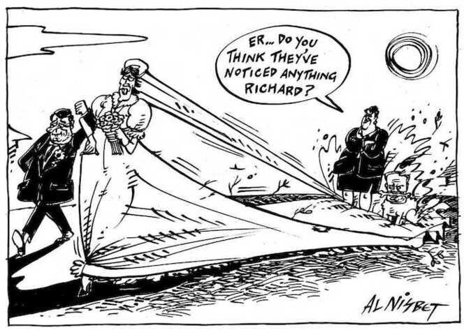 Nisbet, Al 1958- :'Er...Do you think they've noticed anything Richard?' Christchurch Press, 14 April 2001.