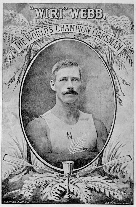 "[Postcard]. ""Wiri"" Webb, the world's champion oarsman / A. D. Willis, publisher. A. E. Watkinson. photo. [1907-08]."