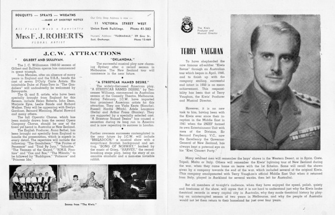 """Kiwi Concert Party :J C W attractions; Terry Vaughan. [J C Williamson Theatres Ltd. His Majesty's Theatre Auckland; season commencing Tuesday May 23rd., 1950. """"The Kiwis""""; the original Middle East Kiwi concert party, led by Terry Vaughan. Programme pages 2-3]. 1950."""