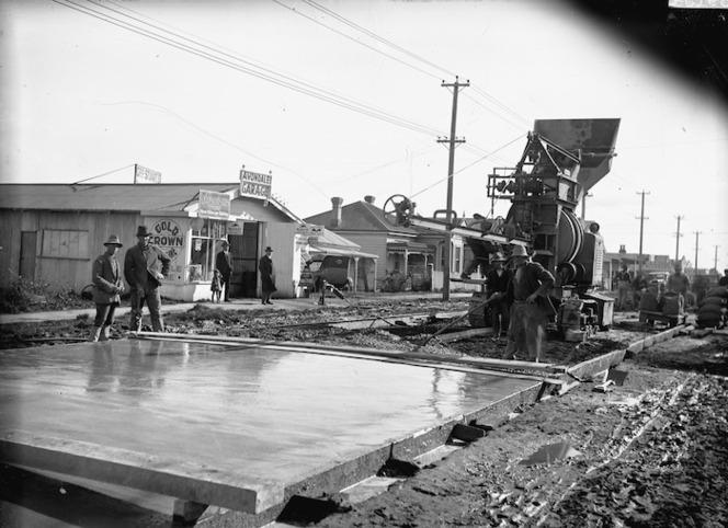 Road under construction alongside Geo Sturrt's Avondale Garage, Avondale, Auckland