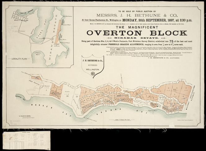 The magnificent Overton block, Miramar estate [cartographic material] : being part of sections nos. 2, 4 & 6 Watt's Peninsula, Port Nicholson Survey District / E. Holroyd Beere, surveyor.