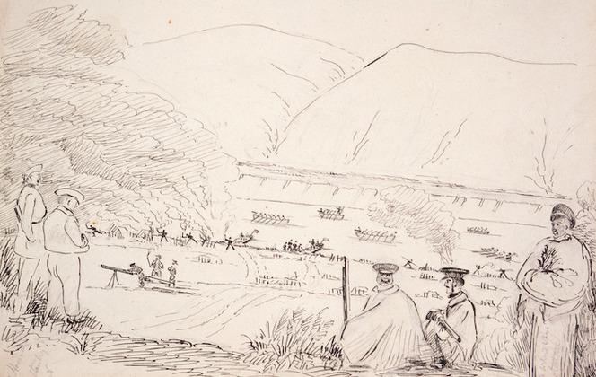 Collinson, Thomas Bernard 1822-1902 :Hosey's Battle 1847. Capt[ain] Henderson, Capt[ain E] Stanley, R. N., Tamati Waka Nene, Te Whero Whero Potatau.