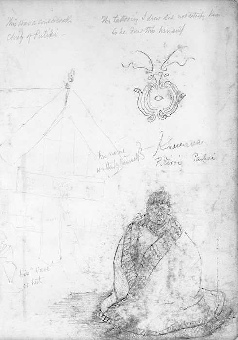 """Collinson, Thomas Bernard 1822-1902 :This was a considerable chief of Putiki. The tattooing I drew did not satisfy him so he drew this himself. His name written by himself - Kawana. Pitiroi. Paipai. His """"ware"""" or hut. [1846]"""