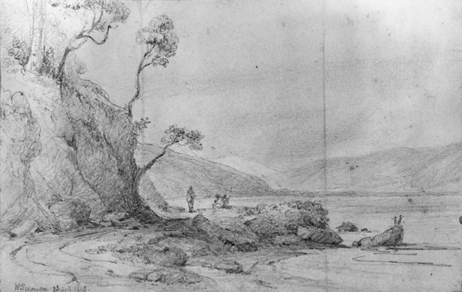 Swainson, William, 1789-1855 :Entrance to the Hutt Valley, Torarua Mountain. 23 Sept. 1848.