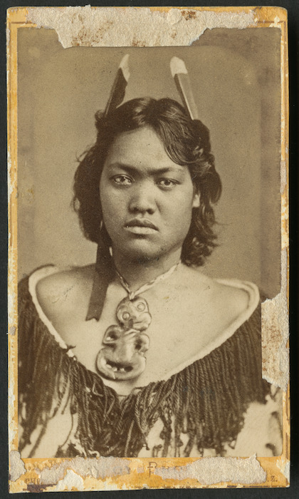 Foy Brothers (Thames) fl 1872 :Portrait of a woman from the Aperahama family of Manaia, Coromandel