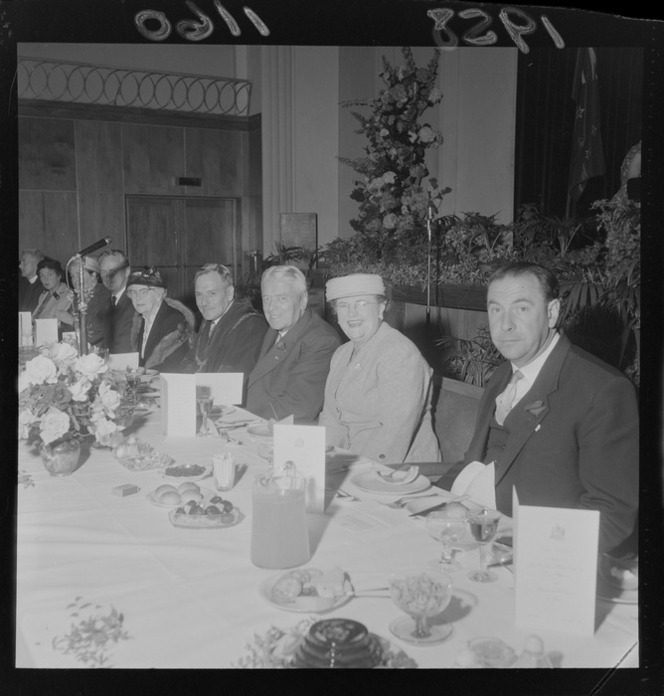 Walter Nash and Mrs Nash with hosts Mr and Mrs Dowse (Mayor and Mayoress) at a civic reception luncheon in Lower Hutt