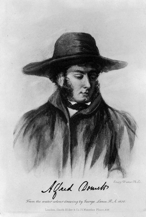 Lance, George, 1802-1864 :Alfred Domett. From the water colour drawing by George Lance, R. A., 1836. Emery Walker ph. sc. London, Smith, Elder & Co, 1906