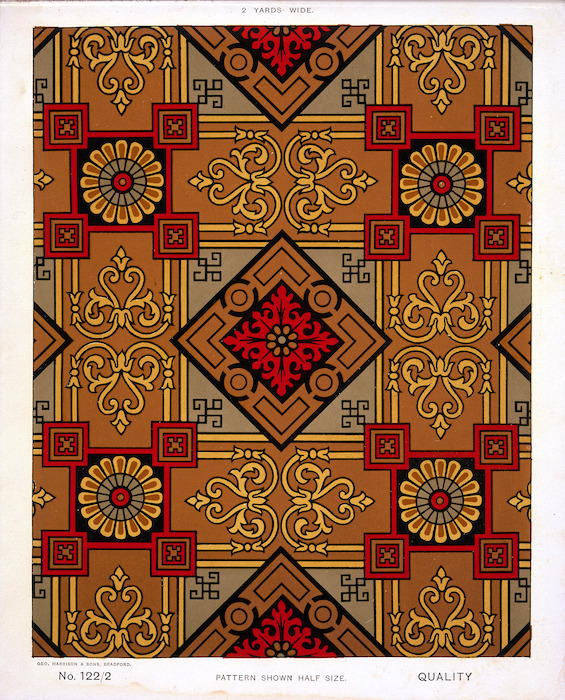 George Harrison & Co (Bradford) :Linoleum, 2 yards wide. [Victorian scroll and classical pattern]. No. 122/2. Pattern shown half size. [1880s?]