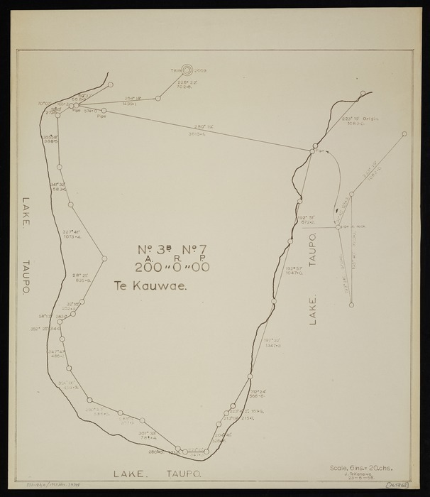 Te Kanawa, J, fl 1958 :Te Kauwae, [Block] no. 3B no. 7, near Lake Taupo [copy of ms map]. J Tekanawa, 23.6.1958