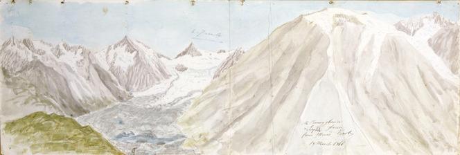 Haast, Johann Franz Julius von, 1822-1887: The Ramsay Glacier & Lyell Glacier from Mein's Knob. 18 March 1866.