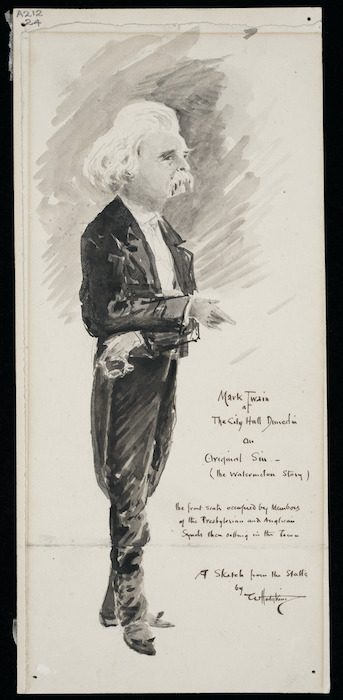 Hodgkins, William Mathew 1833-1898 :Mark Twain at the City Hall Dunedin on original sin - (the watermelon story) [1895]. The front seats occupied by Members of the Presbyterian and Anglican synods then sitting in the town. A sketch from the stalls by W. Hodgkins
